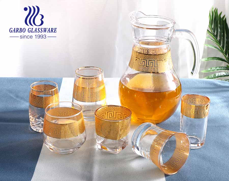 Handmade Customized Brand Golden Pattern Thin Glassware Set Glass Water Drinking Jug Cup for Home Hotel Dinner