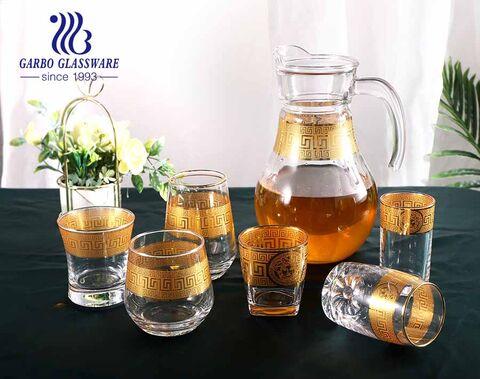 مجموعة أواني زجاجية رقيقة مصنوعة يدويًا حسب الطلب من العلامة التجارية الذهبية ، كوب إبريق لشرب الماء من الزجاج للمنزل والعشاء في الفندق
