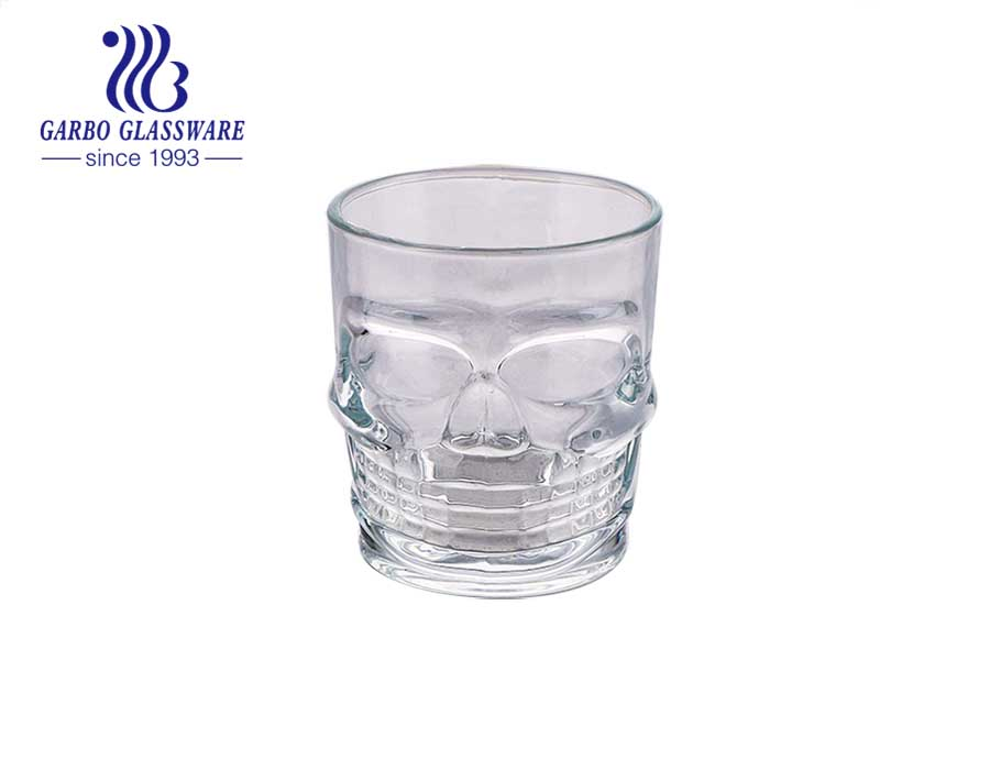 Latin America hot sale 10oz engraved skull design glass cup for El Día de los Muertos