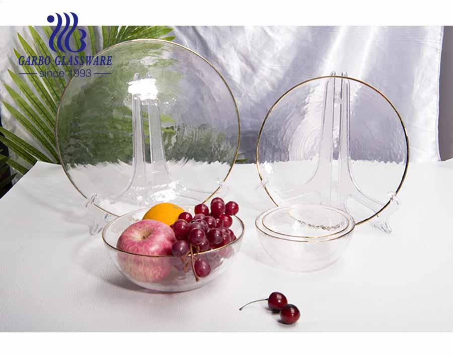 طبق سلطة زجاجي شفاف مقاس 6.18 بوصة مع حافة ذهبية
