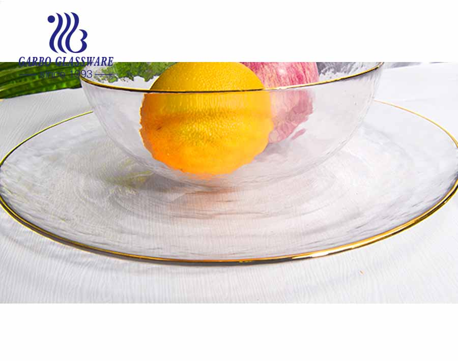 6.18 inch transparent glass salad plate with gold rim
