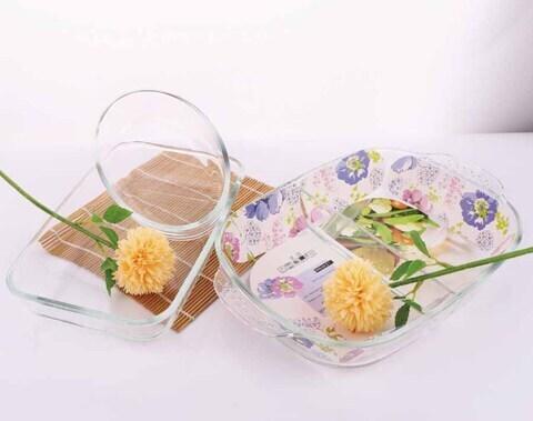 1800ml Rectangular Baking Glass Plate and 700ml Oval Borosilicate Glass Baking Dish
