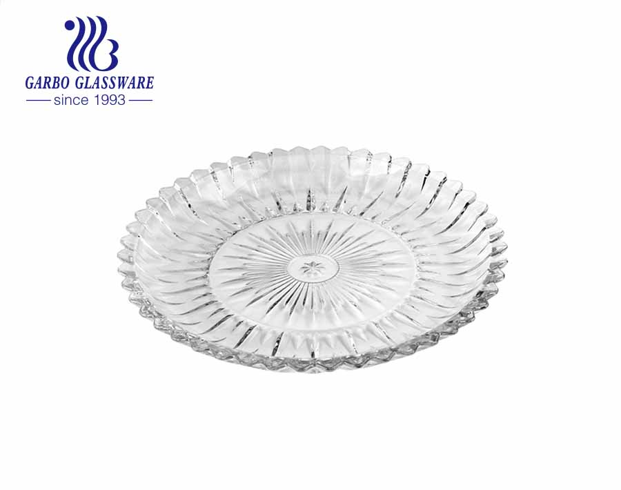 14.5 inch wholesale glass fruit salad dessert plates with delicate carved design