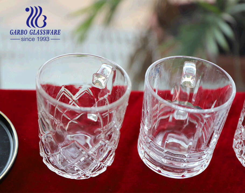 Cốc uống trà thủy tinh Garbo cốc thủy tinh 8oz có tay cầm thiết kế hình cá kim cương