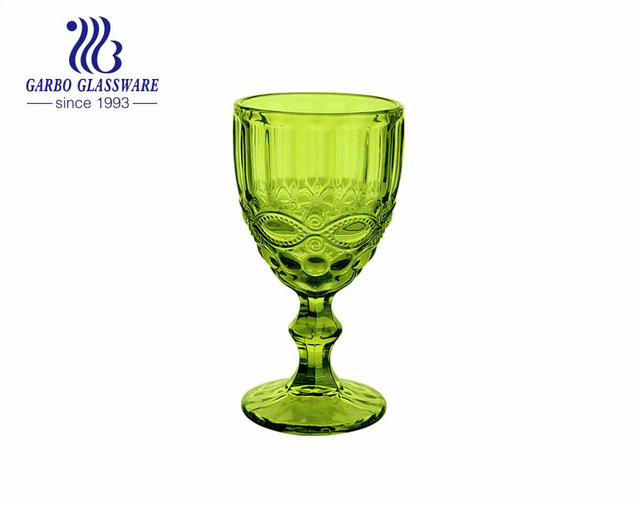 10oz high end colored goblets glassware for home decoration wholesale