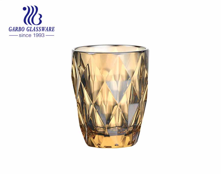 9oz high quality ion plating glass tumblers for water and tea drinking hot sale brazil glassware