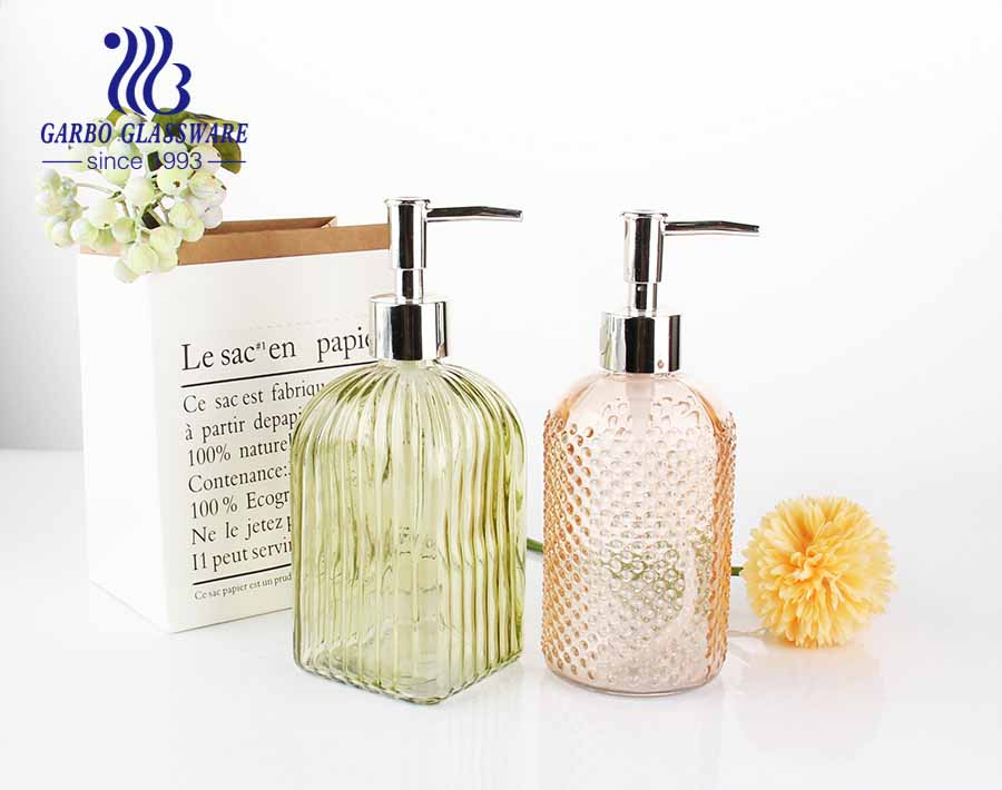520ml Clear Vertical Striped Bottles Soap and Lotion Dispenser with Rustproof Silver Plastic Pump