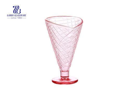 Waffle rosa padrão gravado 8 oz Copo de sorvete de vidro Copo de sobremesa de vidro prato copo de vidro com pés para suco de café