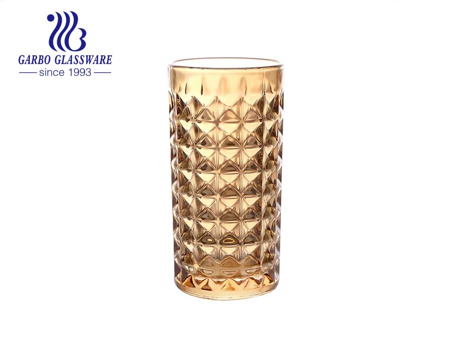 Arabic and India markets style multi sizes 8oz-14oz engraved glass cups with unfading ion electroplating color gold