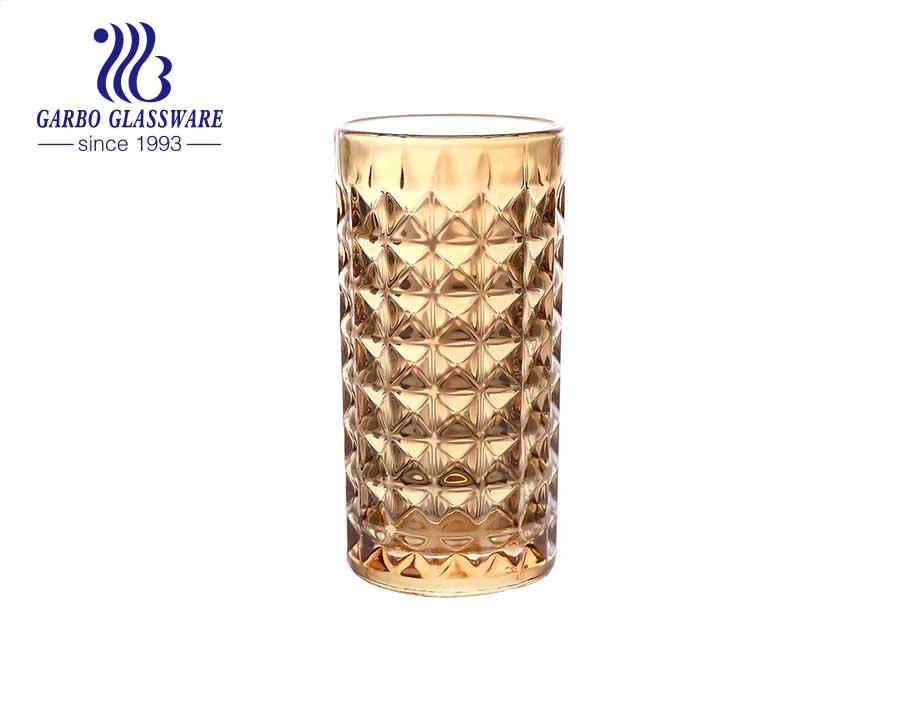أكواب زجاجية منقوشة بأحجام متعددة من الأسواق العربية والهند ذات الأحجام المتعددة 8 أوقية -14 أونصة مع طلاء أيوني غير قابل للكسر باللون الذهبي