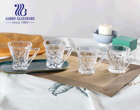 Chén trà thủy tinh khắc chữ chất lượng cao, ly vuông 5oz có tay cầm độc đáo
