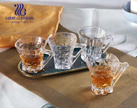 أكواب شاي زجاجية عالية الجودة منقوشة 5 أوقية أكواب مربعة بمقبض فريد
