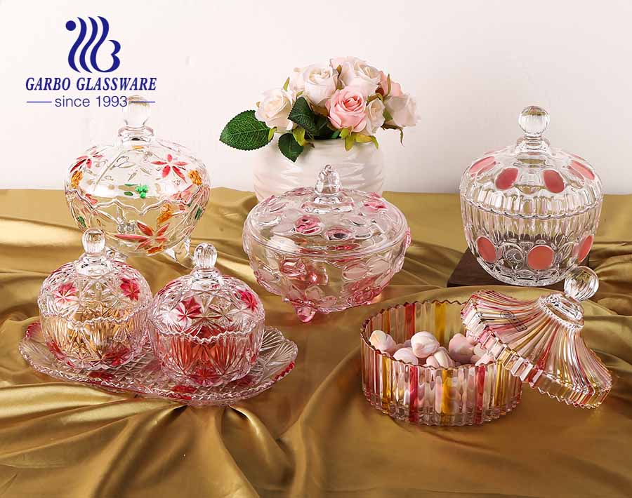 6.2 in PK Hot Sell Decorative Candy Bowl with Pink Rose Design and Lid