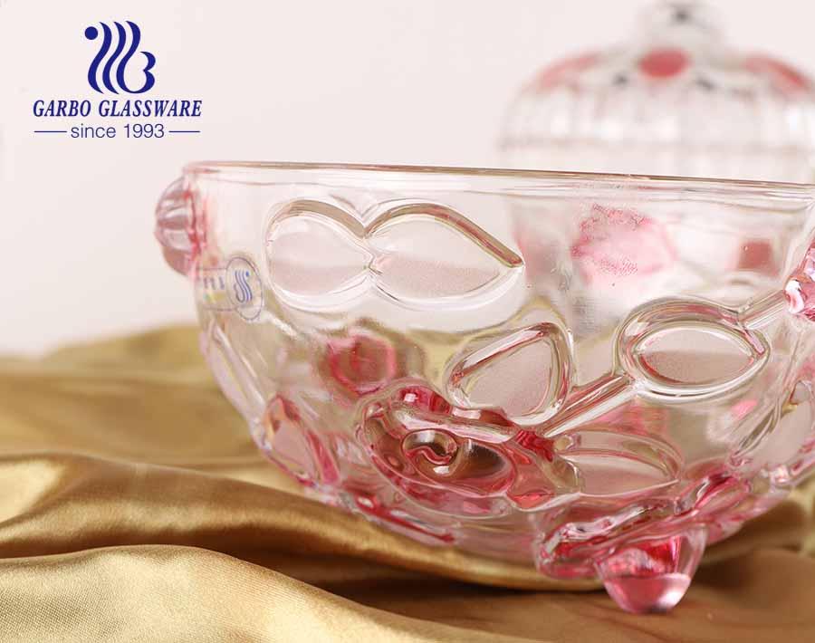 6.2 في PK حار بيع وعاء الحلوى الزخرفية مع تصميم وردي وغطاء