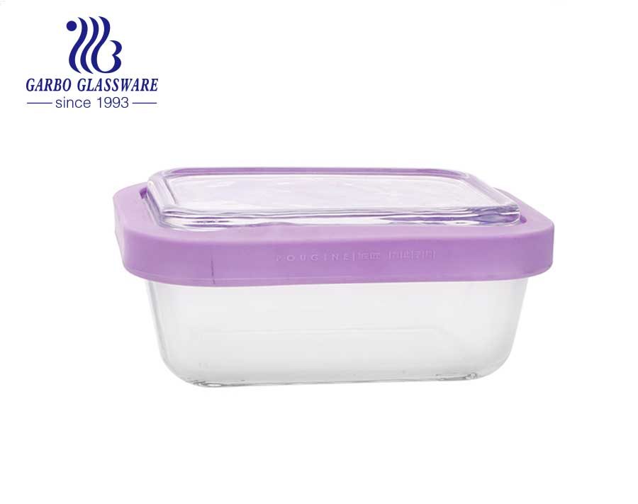 Stock tempered glass food containers 300 ml with silicone sealed lids