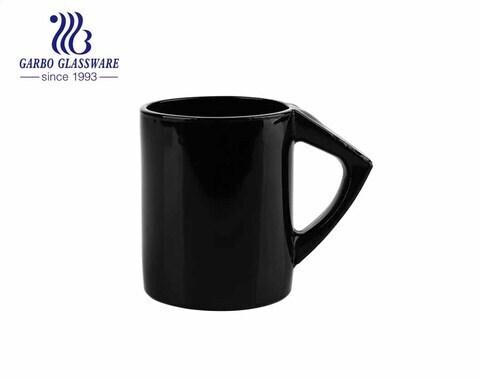أكواب زجاجية باللون الأسود 6 أوقية مع مقبض أكواب زجاجية بلون خالص للشاي والقهوة والحليب