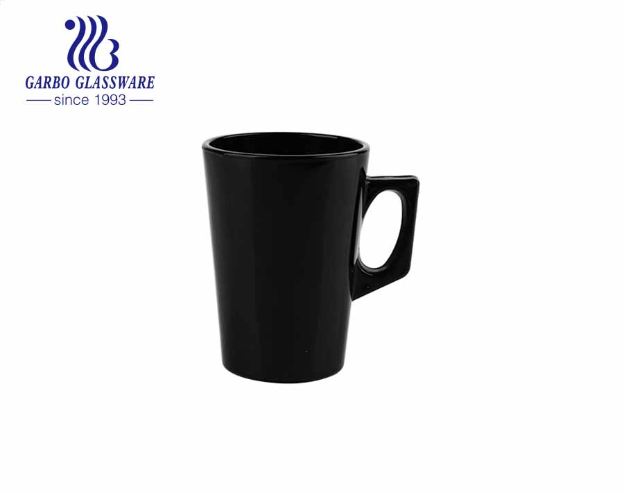 6oz Black color glass cups with handle solid color drink glass mugs for tea coffee milk