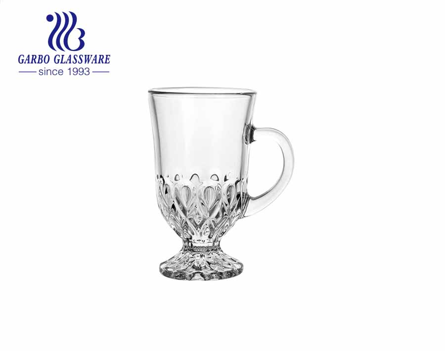 170ml engraved designs glass mugs with stand glass cups for tea coffee