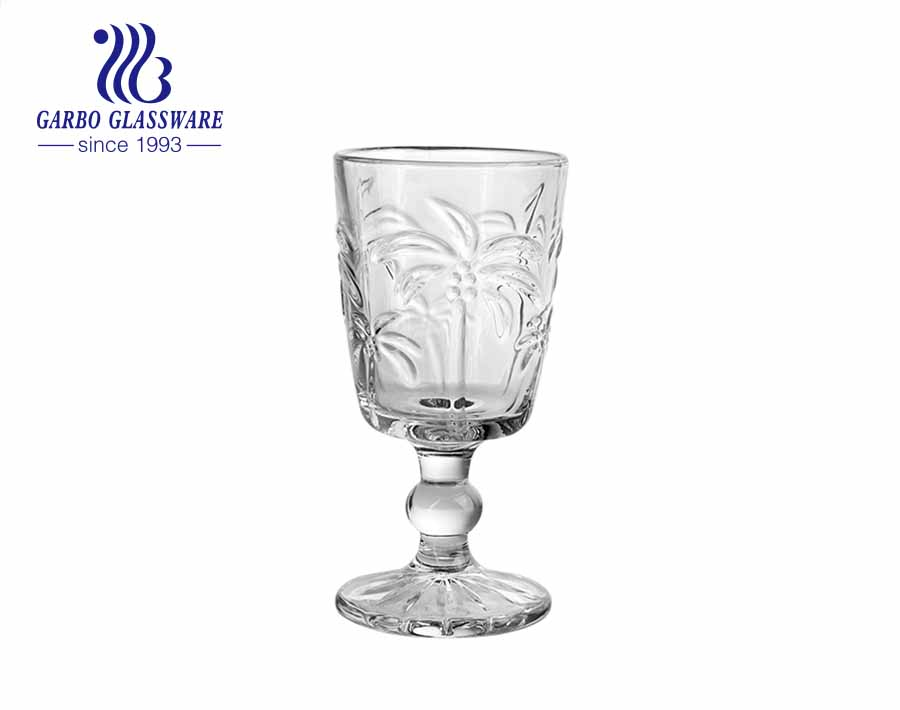 South America Latin style coconut tree engraved glass cup wine glass with stem