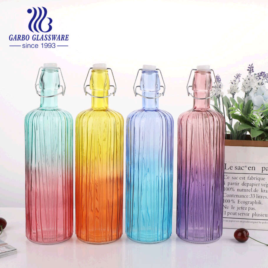 Colorful 700ml creactive water glass bottle juice beverage outdoo lead free sporty bottle  home decoration collection bottle