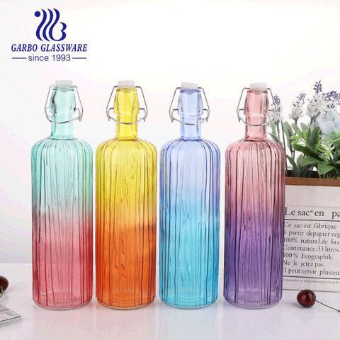 Colorido 700 ml botella de vidrio de agua creactive jugo bebida outdoo botella deportiva sin plomo botella de colección de decoración del hogar