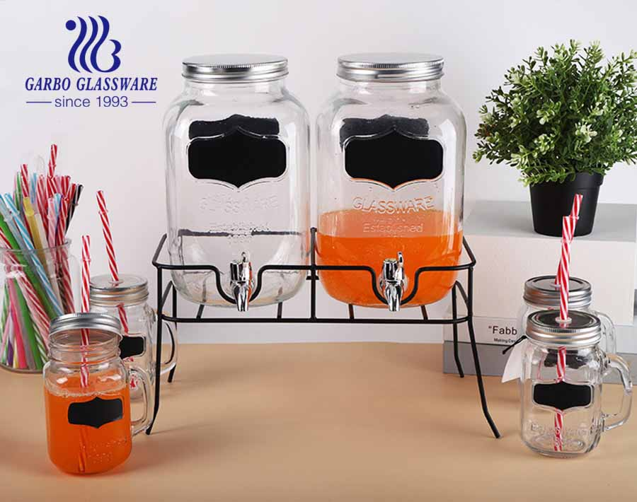 1.1 gallon 4L for Each Glass Mason Jar Double Beverage Drink Dispenser Set With Rose Gold Stand Leak-Free Spigot
