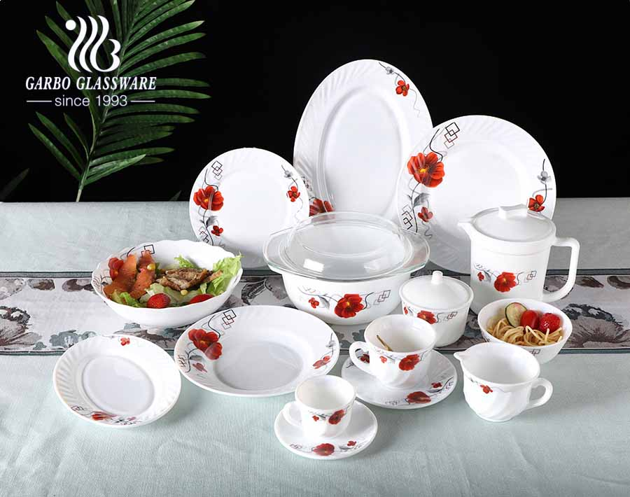 White tempered opal dinner soup plates 8 inch deep plates for tableware
