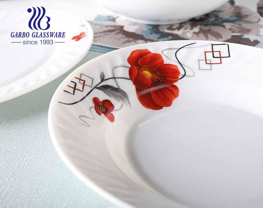 أطباق شوربة عشاء أوبال بيضاء مقسى 8 بوصة أطباق عميقة لأدوات المائدة