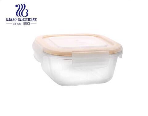 Pyrex 570 ml recipientes para alimentos de vidro quadrado com tampas seladas de silicone