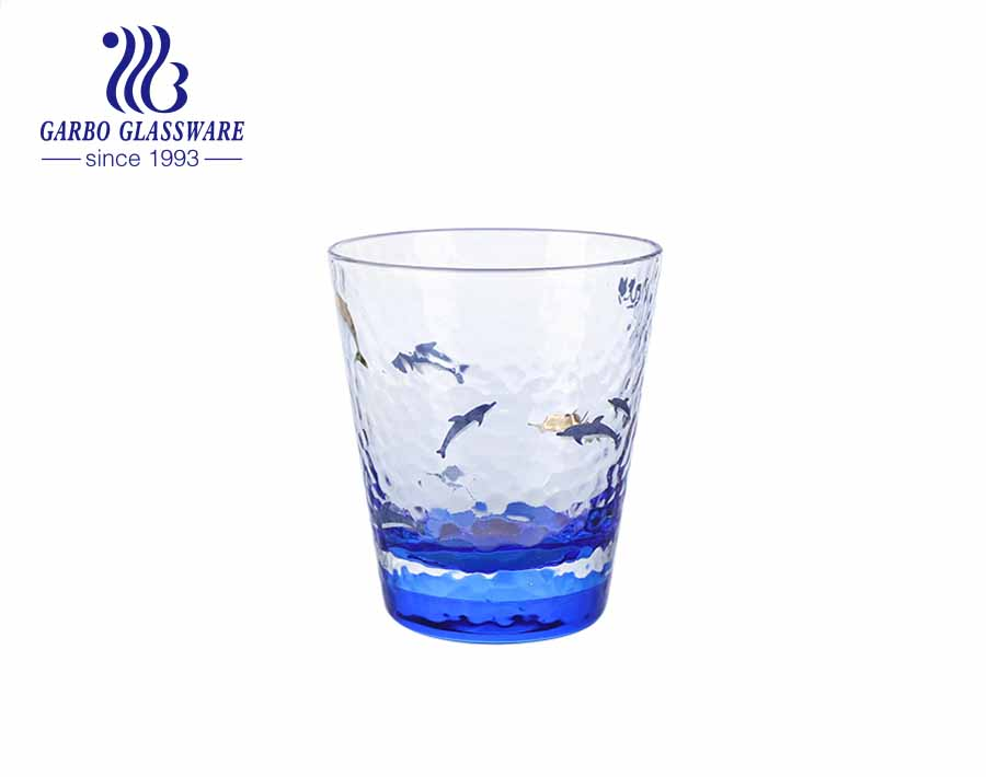 2021 new arrivals ocean series hammer wave glass tumbler with custom colors and luxury gold rim decal