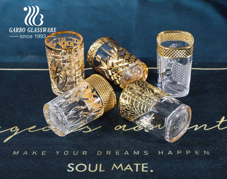 Central Asian markets engraved glass cups with electroplated color gold for tea serving