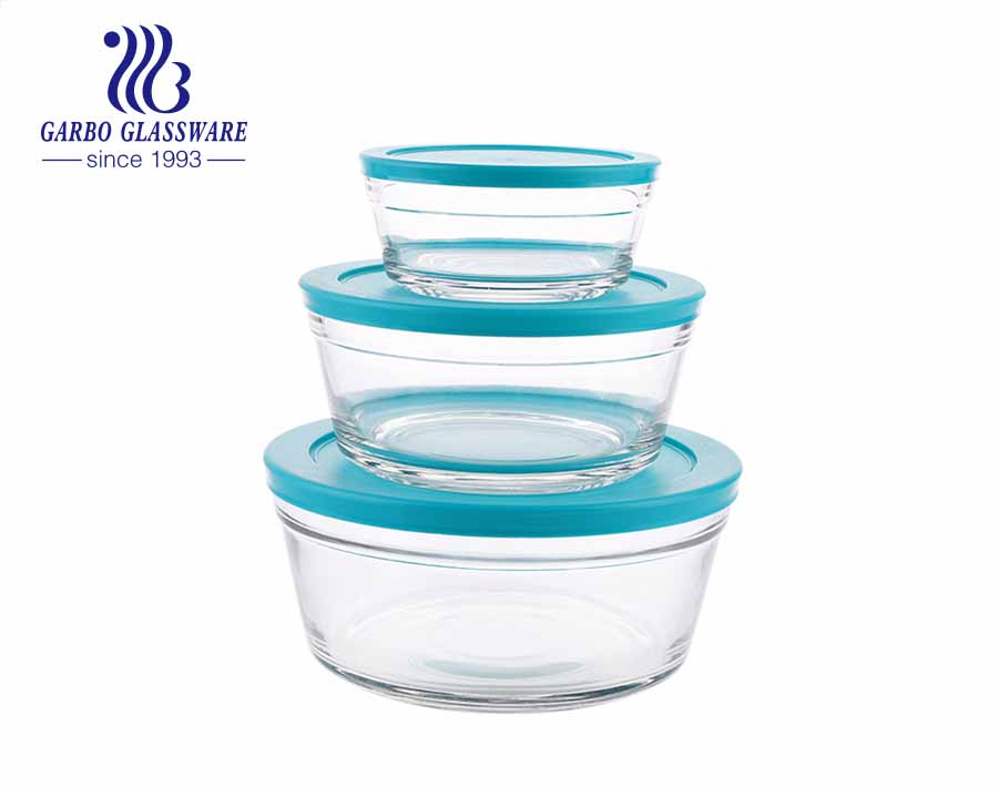 3 PCS glass mixing salad dessert bowl set for refrigerator with blue lid for home kitchen use