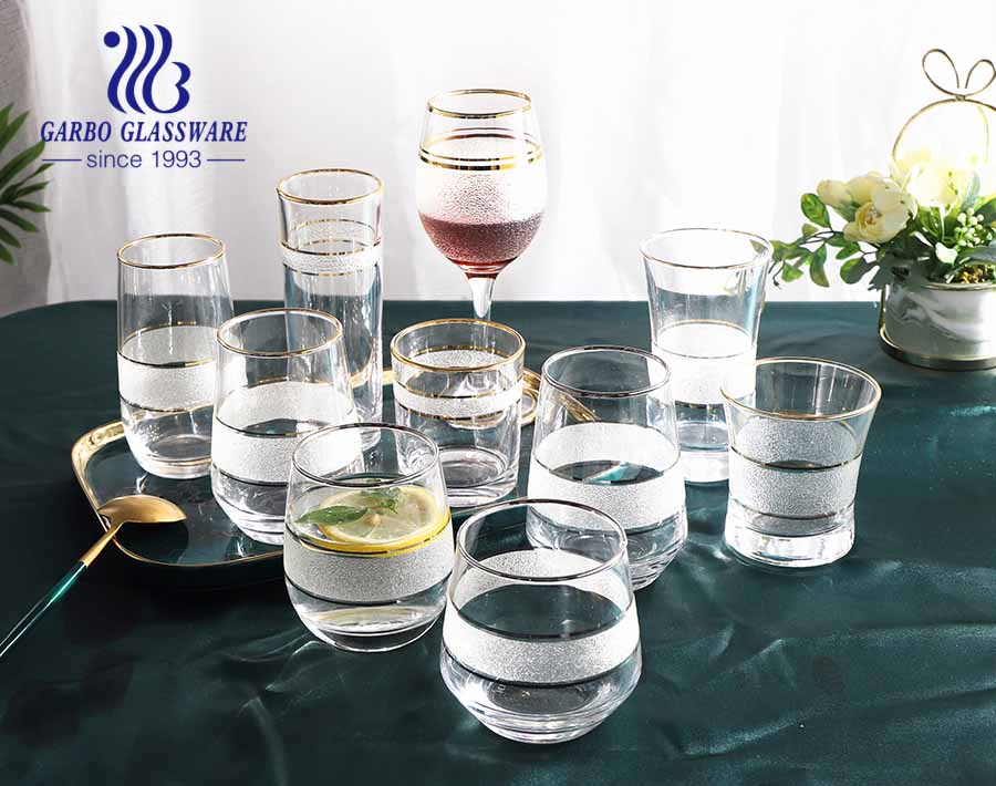 High-quality transparent glass water wine drinking glassware set with golden silver rim frosted design for hotel use