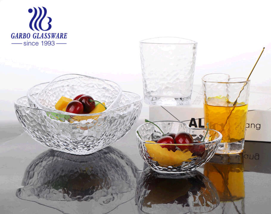 7.5inch machine-made hammer pattern clear glass salad bowls with good price