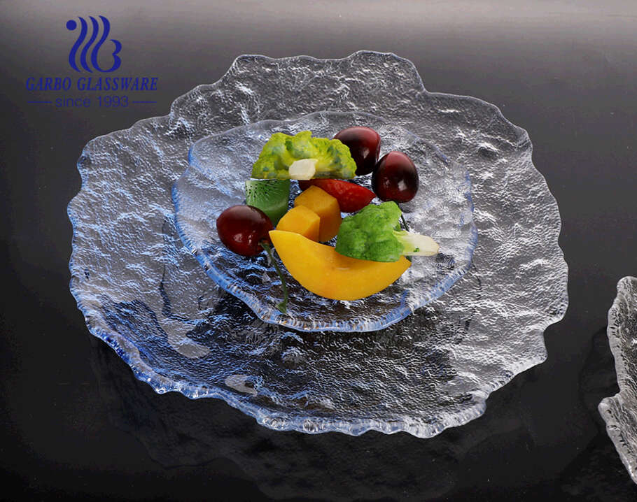 6-inch hand-made European-style blue special style high-end glass fruit plate