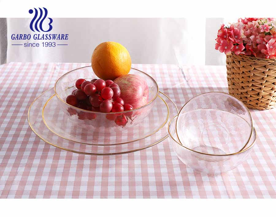 5 inch 380ml Elegant handmade depression glass candy dish and clear glass fruit plate with mouth gold rim series