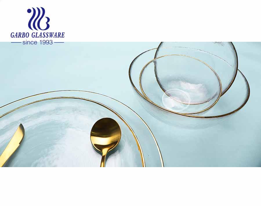 طبق حلوى زجاجي أنيق مصنوع يدويًا بحجم 5 بوصات 380 مل ولوحة فاكهة زجاجية شفافة مع سلسلة حافة ذهبية للفم