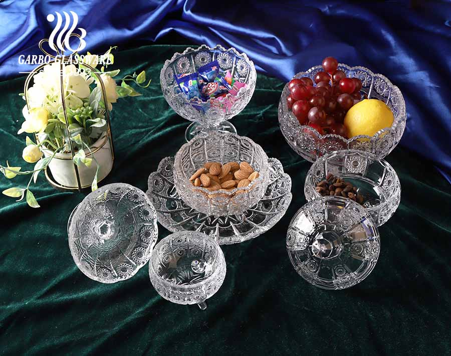 3 inches Bohemia Embossed Glass Dessert Bowl with Sun Flower Cut Design Series