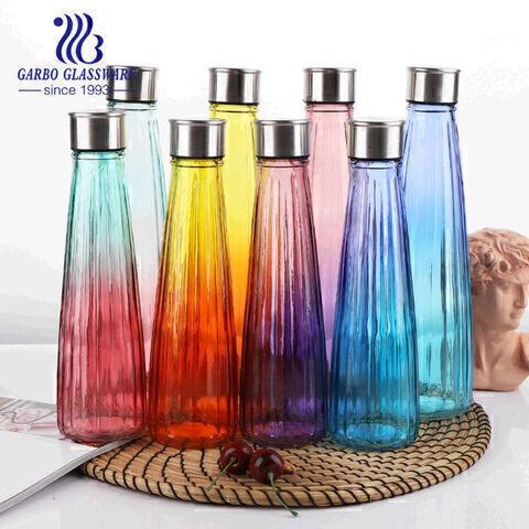 Botella de vidrio de color de 500 ml con tapa botella de vidrio vintage decorativa para árbol de botellas, floreros