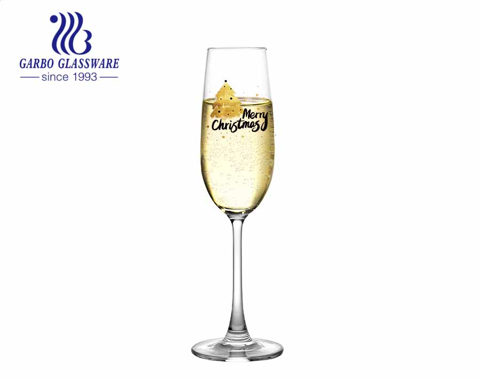Copo de vidro para taça de impressão de feliz Natal para cerveja vinho Champage
