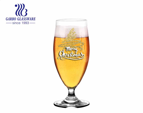 Copo de vidro de cerveja soprado por máquina de 400ml com haste de cristal sem chumbo com logotipo personalizado