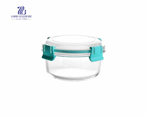 Recipientes de alimentos de vidro redondo de alta resistência ao calor com tampas de travamento