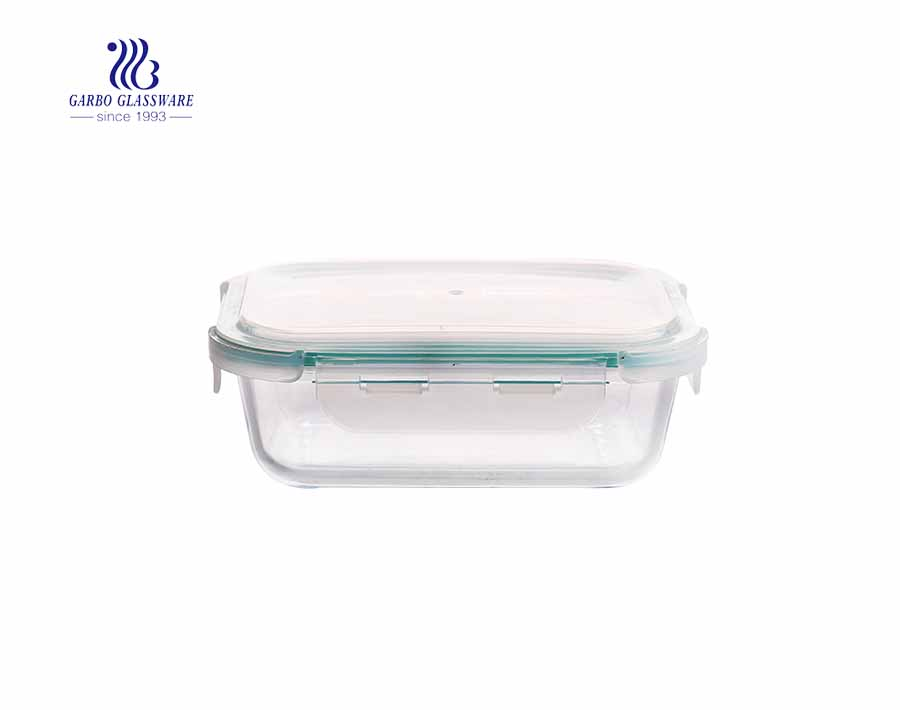 Heat resistant High round glass food containers with locking lids