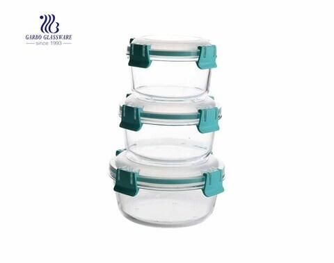 Conjunto de recipientes de alimentos de vidro alto de pirex 3 PCS com tampas seladas de silicone