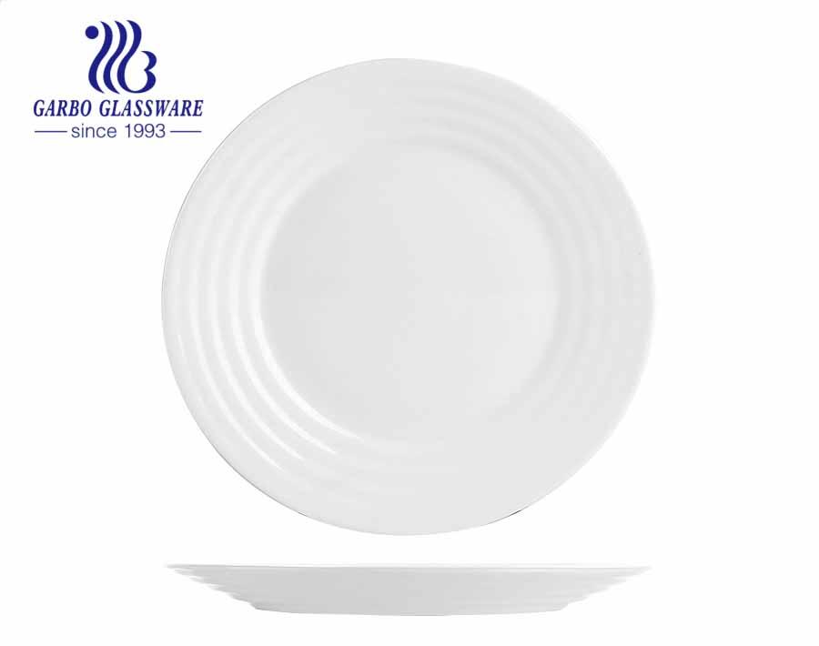 White tempered opal glass 14inch big rectangular dinner plates