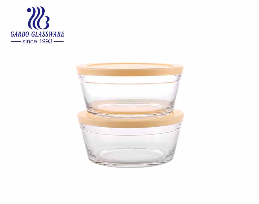Wholesale 2 pcs transparent round glass mixing salad fruit bowl set with customized colored lid from factory