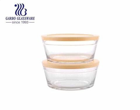 الجملة 2 قطعة زجاج مستدير شفاف خلط صحن سلطة الفاكهة مع غطاء ملون مخصص من المصنع