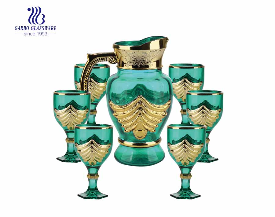 Vintage green glass water drinking jug set with golden pattern design in African style