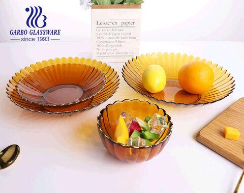 طبق فاكهة زجاجي مصنوع يدويًا بحجم 10 بوصة بلون كهرماني صلب وبسيط بتصميم اللوتس مع حافة ذهبية