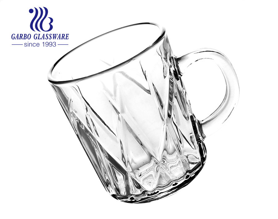 8oz classic glass coffee mugs with GARBO patent designs Middle East glass cups with handle